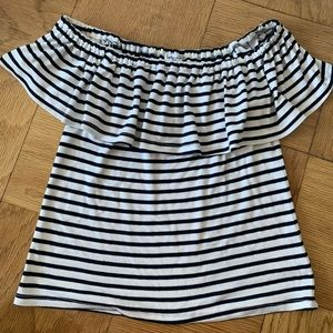 Splendid Off-the-should Stripe Top, White/blue S